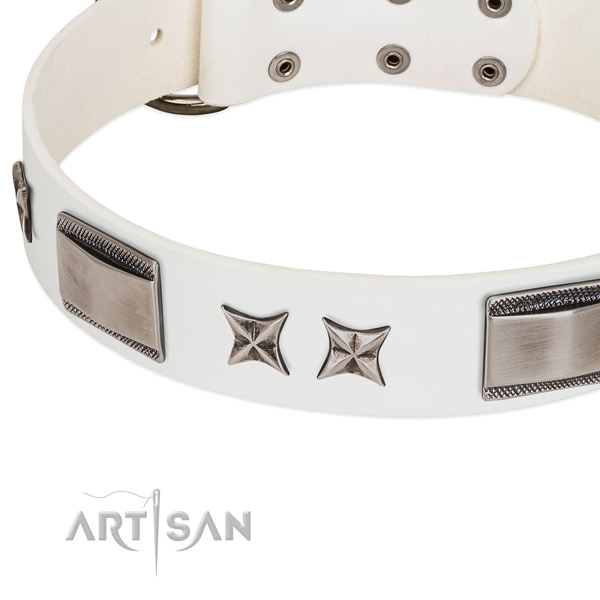 Reliable full grain genuine leather dog collar with rust-proof traditional buckle