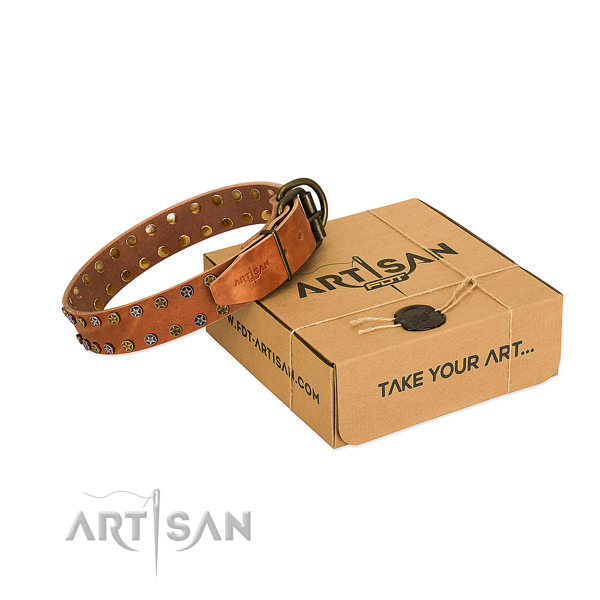 Easy wearing soft to touch full grain natural leather dog collar with studs