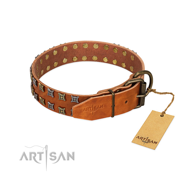 Best quality full grain natural leather dog collar created for your canine