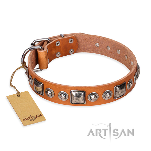 Full grain natural leather dog collar made of top notch material with durable D-ring