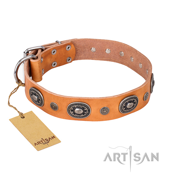 Soft to touch full grain leather collar made for your dog