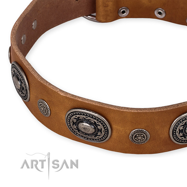 Strong full grain leather dog collar made for your impressive dog