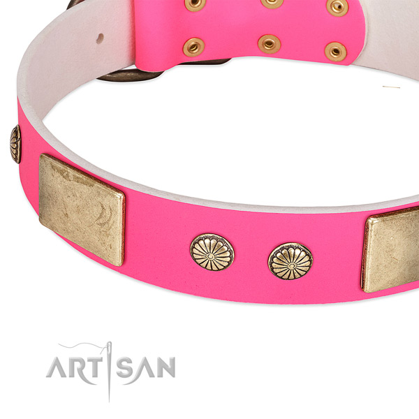 Reliable D-ring on genuine leather dog collar for your four-legged friend