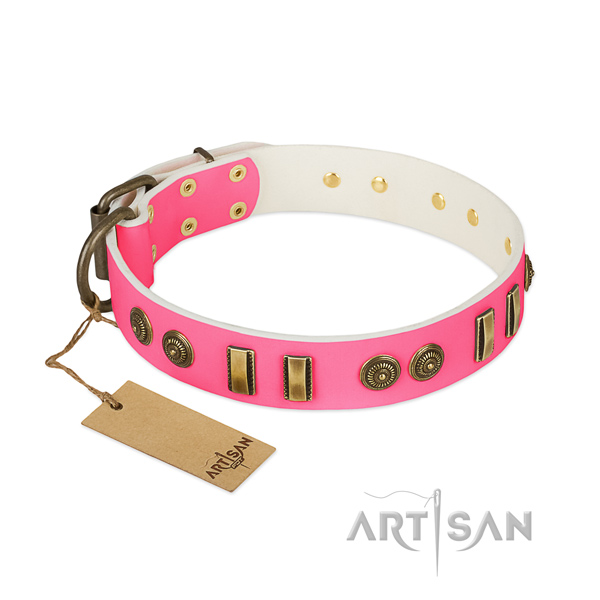 Stylish design genuine leather collar for your dog