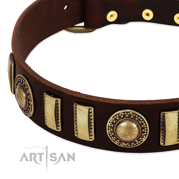 Flexible full grain genuine leather dog collar with rust-proof D-ring