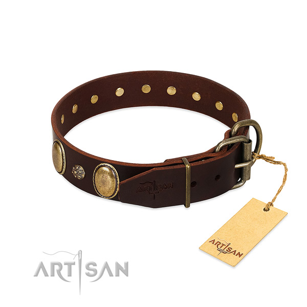 Everyday walking gentle to touch full grain leather dog collar