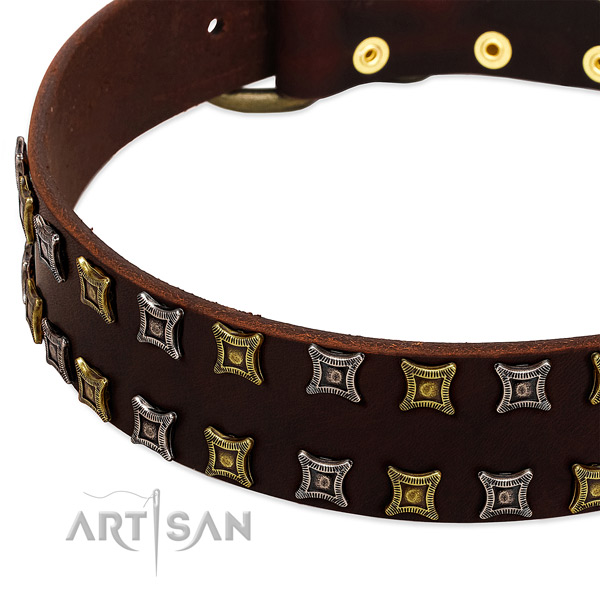 High quality genuine leather dog collar for your beautiful dog