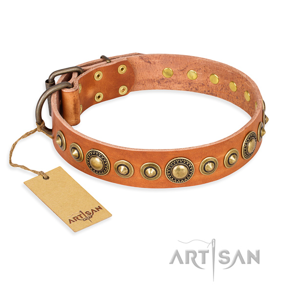 Flexible leather collar handmade for your doggie