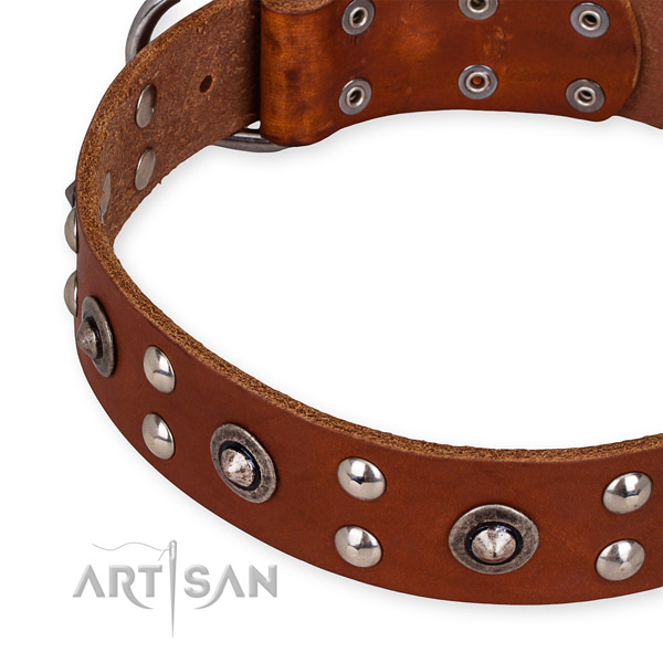 Genuine leather collar with corrosion proof buckle for your beautiful doggie