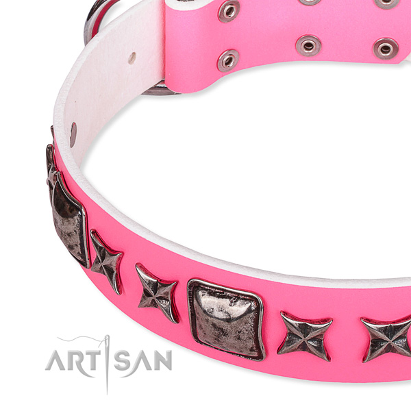 Handy use studded dog collar of best quality full grain leather
