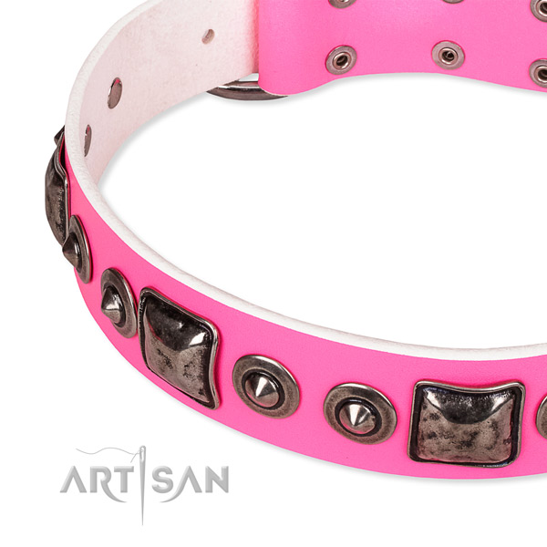 Reliable full grain genuine leather dog collar handmade for your lovely four-legged friend