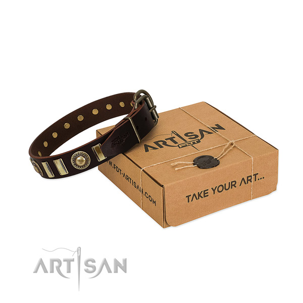 Gentle to touch natural leather dog collar with rust resistant traditional buckle