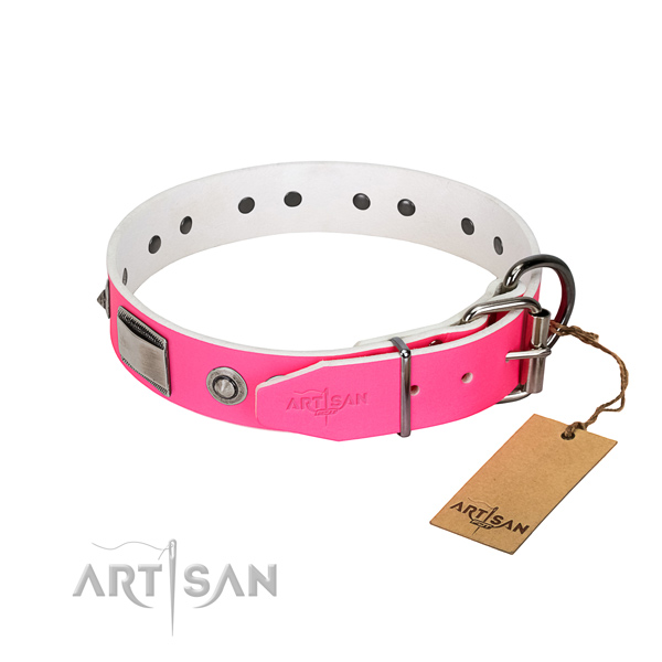 Perfect fit dog collar of genuine leather with studs