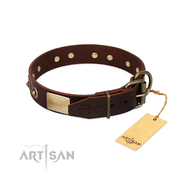 Reliable buckle on comfortable wearing dog collar
