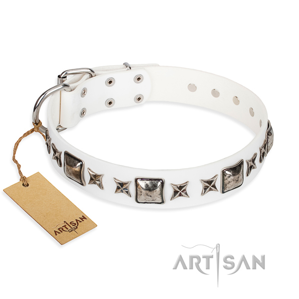 Full grain natural leather dog collar made of soft to touch material with corrosion proof D-ring