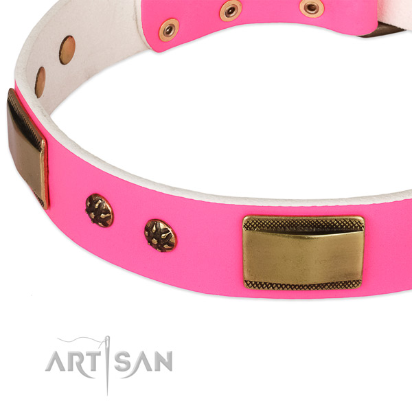 Reliable traditional buckle on full grain natural leather dog collar for your pet
