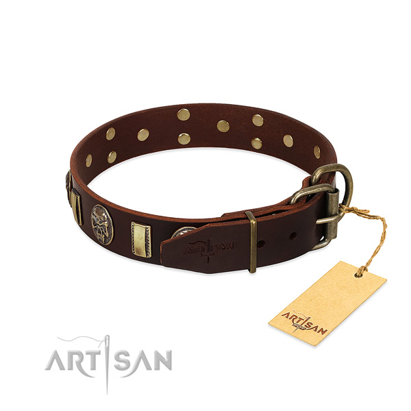 Full grain genuine leather dog collar with rust-proof traditional buckle and decorations