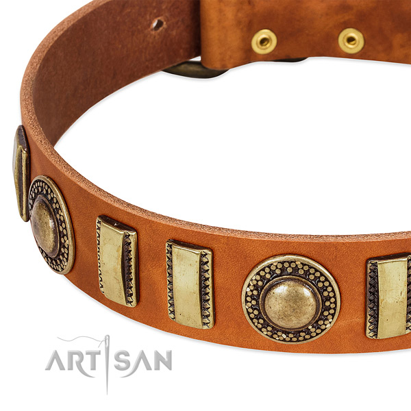 Flexible genuine leather dog collar with durable traditional buckle