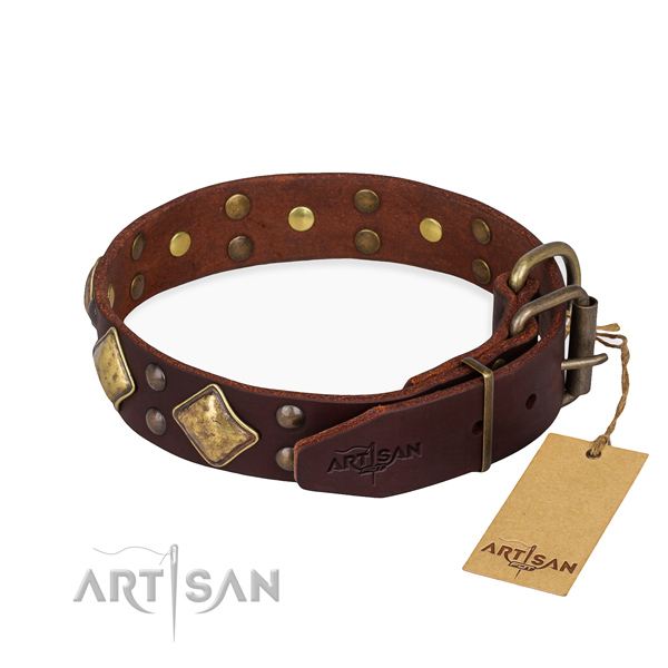 Full grain leather dog collar with exquisite corrosion resistant decorations
