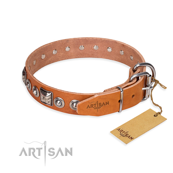 Genuine leather dog collar made of top notch material with corrosion resistant studs