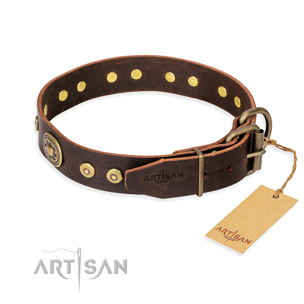 Genuine leather dog collar made of high quality material with rust resistant embellishments