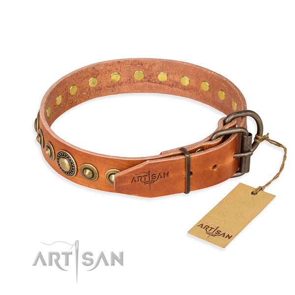 Strong leather dog collar created for comfy wearing