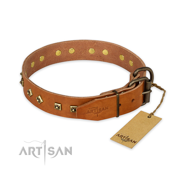 Rust-proof hardware on full grain genuine leather collar for walking your doggie