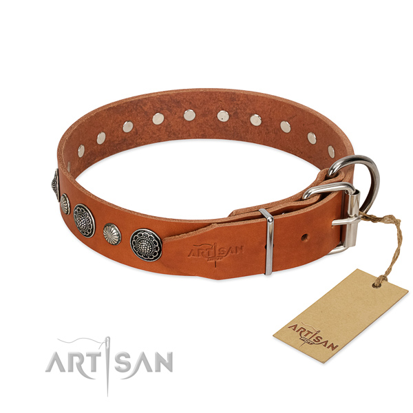 Top notch Full grain natural leather dog collar with corrosion resistant D-ring