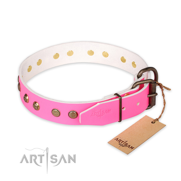 Strong D-ring on genuine leather collar for your handsome doggie