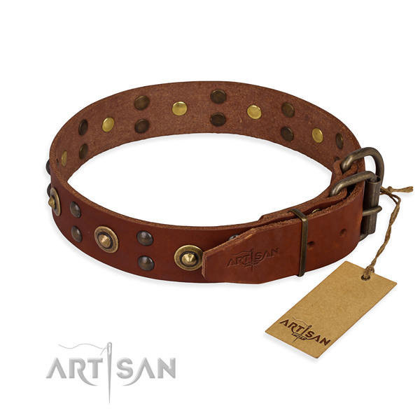 Rust resistant fittings on full grain leather collar for your stylish doggie
