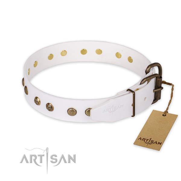 Corrosion resistant traditional buckle on genuine leather collar for your attractive pet