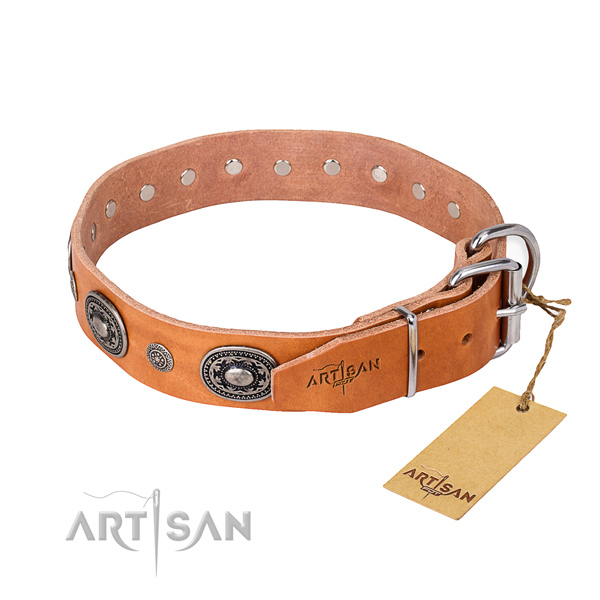 Flexible leather dog collar crafted for comfortable wearing