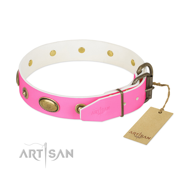 Strong buckle on full grain genuine leather dog collar for your dog