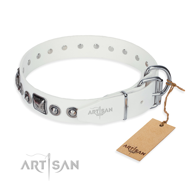 Gentle to touch leather dog collar made for everyday walking