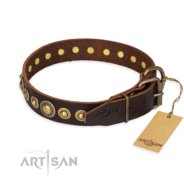 Reliable genuine leather dog collar crafted for fancy walking
