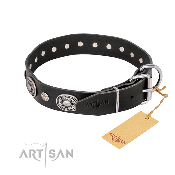 Soft to touch full grain genuine leather dog collar crafted for everyday walking
