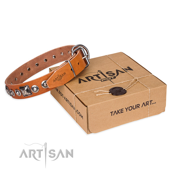 Natural genuine leather dog collar made of reliable material with corrosion proof D-ring