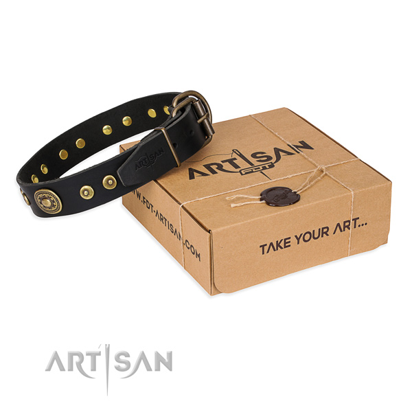 Natural genuine leather dog collar made of soft to touch material with corrosion proof D-ring