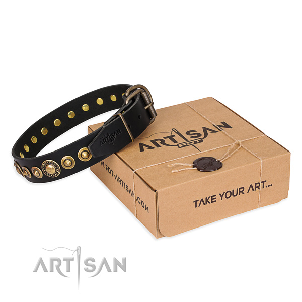 Quality natural genuine leather dog collar created for daily use