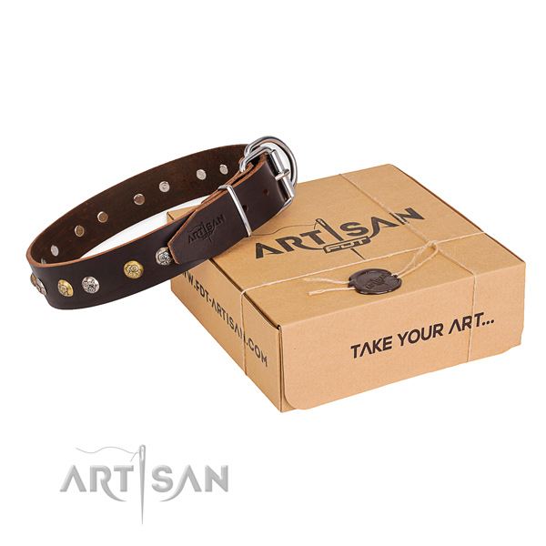 High quality full grain genuine leather dog collar handmade for comfortable wearing