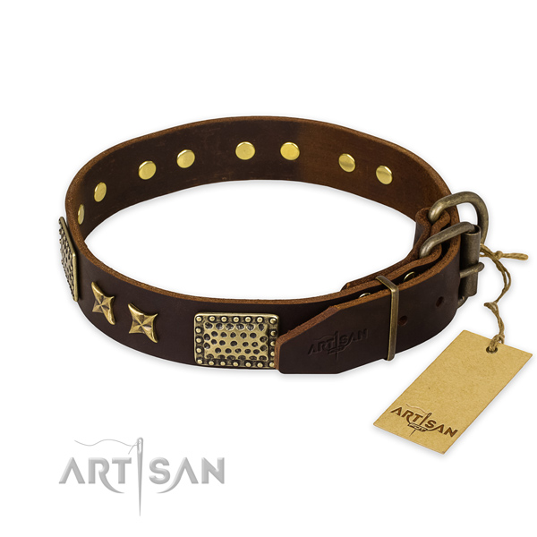 Strong hardware on full grain natural leather collar for your impressive pet