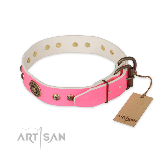 Corrosion proof D-ring on natural genuine leather collar for walking your canine