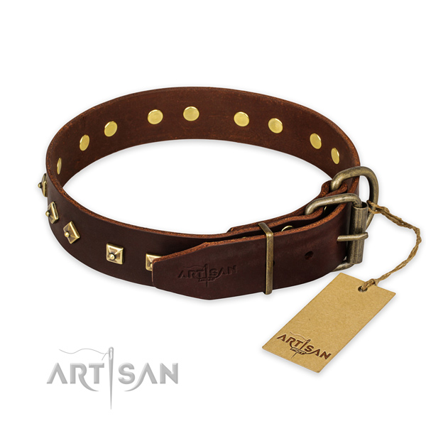 Rust resistant fittings on genuine leather collar for fancy walking your canine
