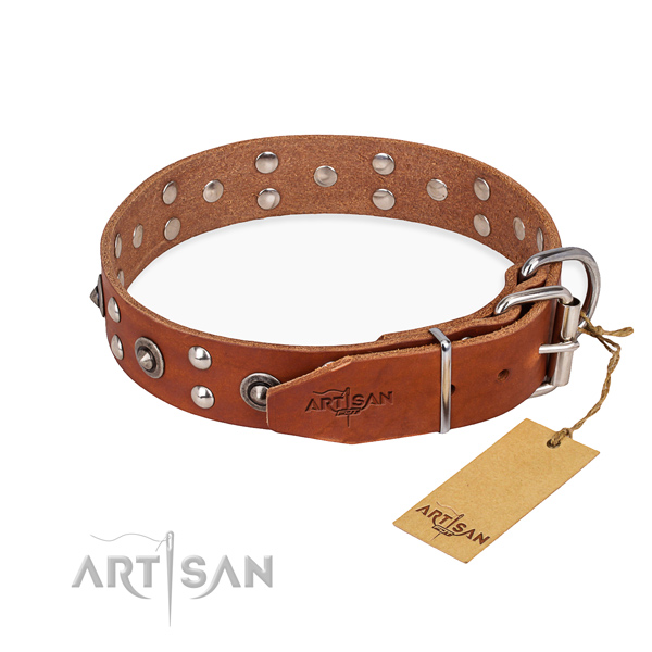 Corrosion resistant D-ring on full grain leather collar for your stylish canine