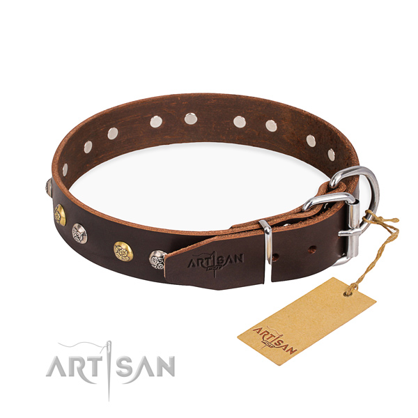 High quality full grain genuine leather dog collar created for comfortable wearing