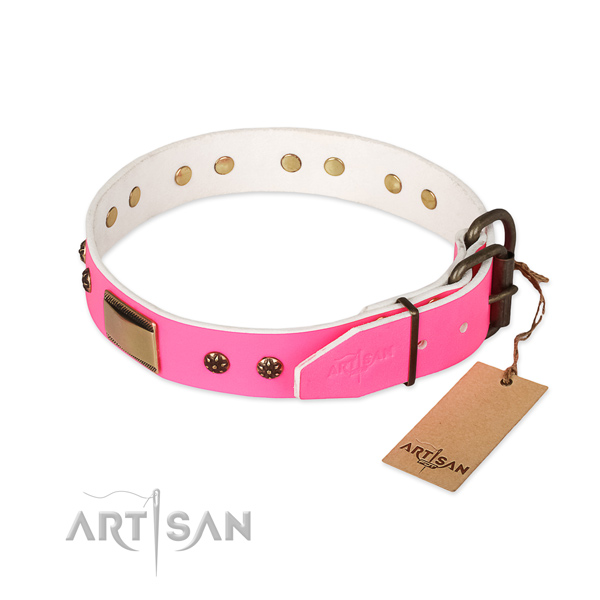 Strong buckle on full grain genuine leather dog collar for your pet