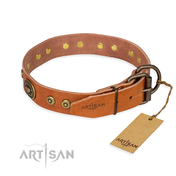 Full grain genuine leather dog collar made of best quality material with durable decorations