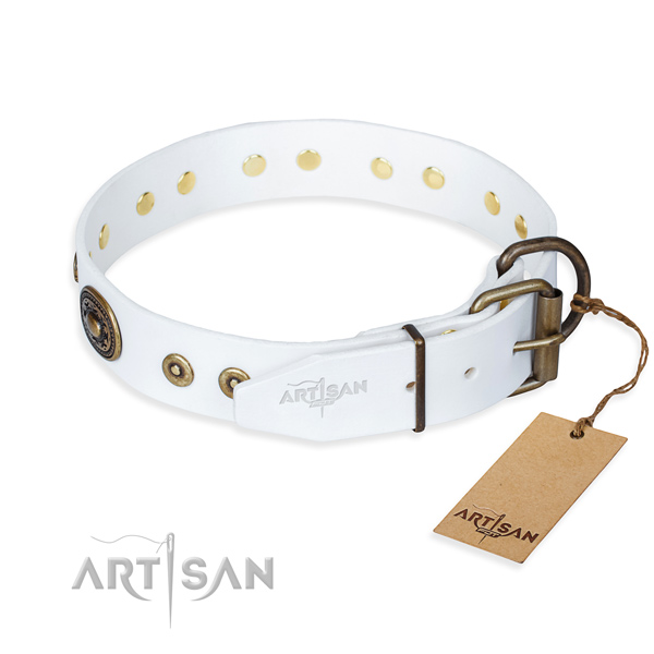 Full grain natural leather dog collar made of soft to touch material with durable decorations