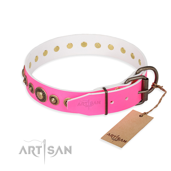 Durable genuine leather dog collar made for comfy wearing