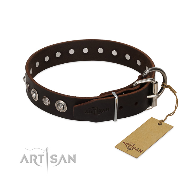 High quality full grain genuine leather dog collar with exquisite embellishments